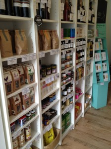 Yummy and carefully selected stock of Monmouth Coffee, Tea Pigs tea, The Relish Company jams, and lots of other goodies!